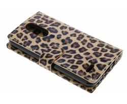 Bruin glanzend luipaard booktype hoes LG K4 (2017)