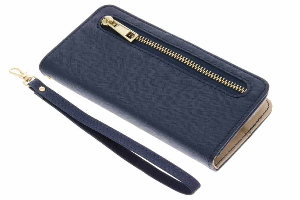 Blauwe luxe booktype met rits voor de Samsung Galaxy S5 Mini