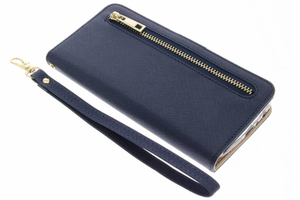 Blauwe luxe booktype met rits voor de Samsung Galaxy J5