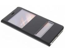 Zwart slim booktype hoes met venster Huawei P10 Lite