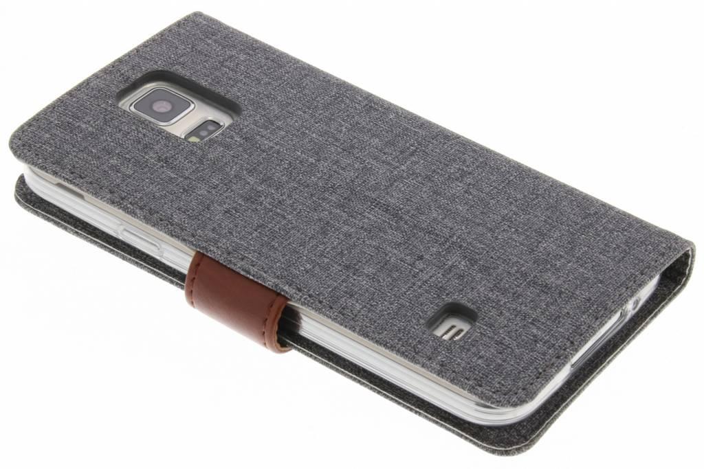 Cuir De Luxe Gris Boîtier De Type Livre Pour Samsung Galaxy S5 (plus) / Neo 4wx41