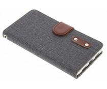 Grijs linnen TPU booktype hoes Huawei P8 Lite