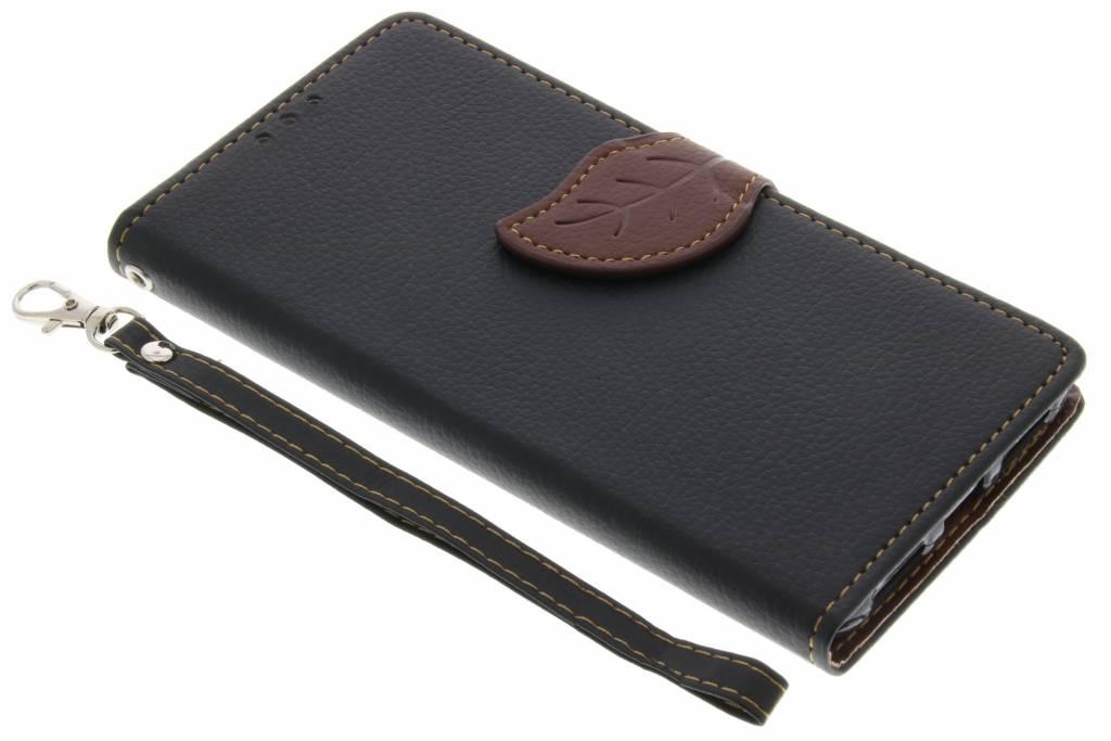 Zwarte blad design TPU booktype hoes voor de Huawei Y5 2 / Y6 2 Compact
