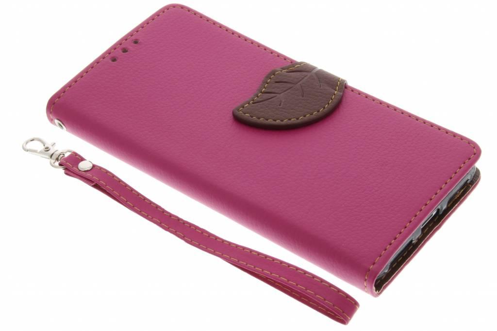 Fuchsia blad design TPU booktype hoes voor de Huawei Y5 2 / Y6 2 Compact