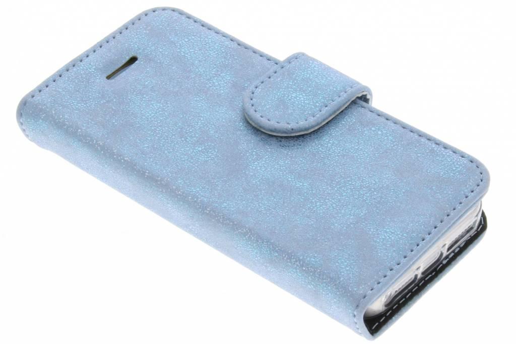 Accezz Blauwe Glitter Wallet TPU Booklet voor de iPhone 5 / 5s / SE