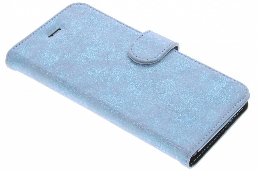 Blauwe Glitter Wallet TPU Booklet voor de iPhone 6(s) Plus