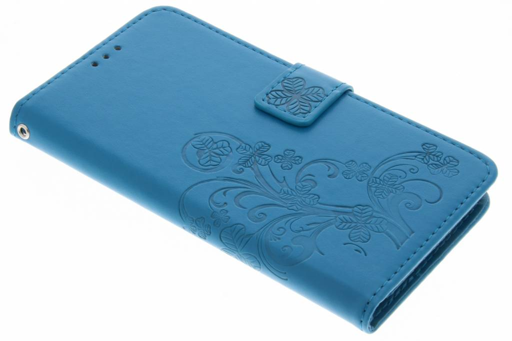 Blauwe klavertje bloemen booktype hoes voor de OnePlus 5