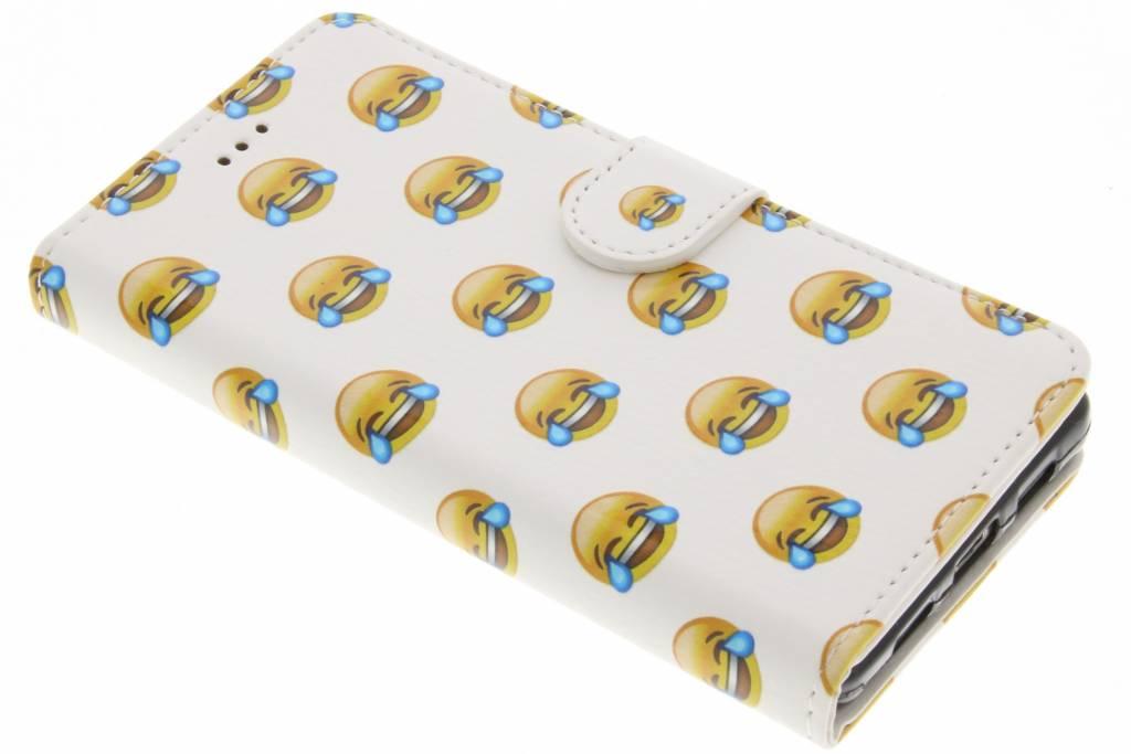 Emoji lachen design TPU booktype hoes voor de Huawei P8 Lite