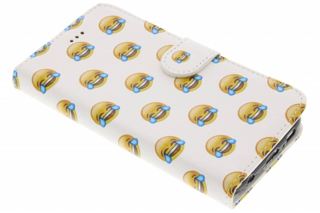 Emoji lachen design TPU booktype hoes voor de Samsung Galaxy S6