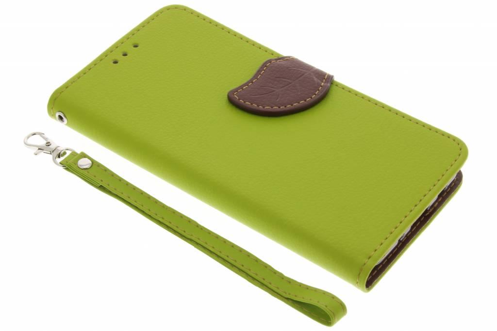 Groene blad design TPU booktype voor de Samsung Galaxy J7 (2017)