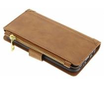Bruin luxe portemonnee hoes iPhone Xs / X