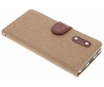 Bruin linnen TPU booktype hoes OnePlus 5