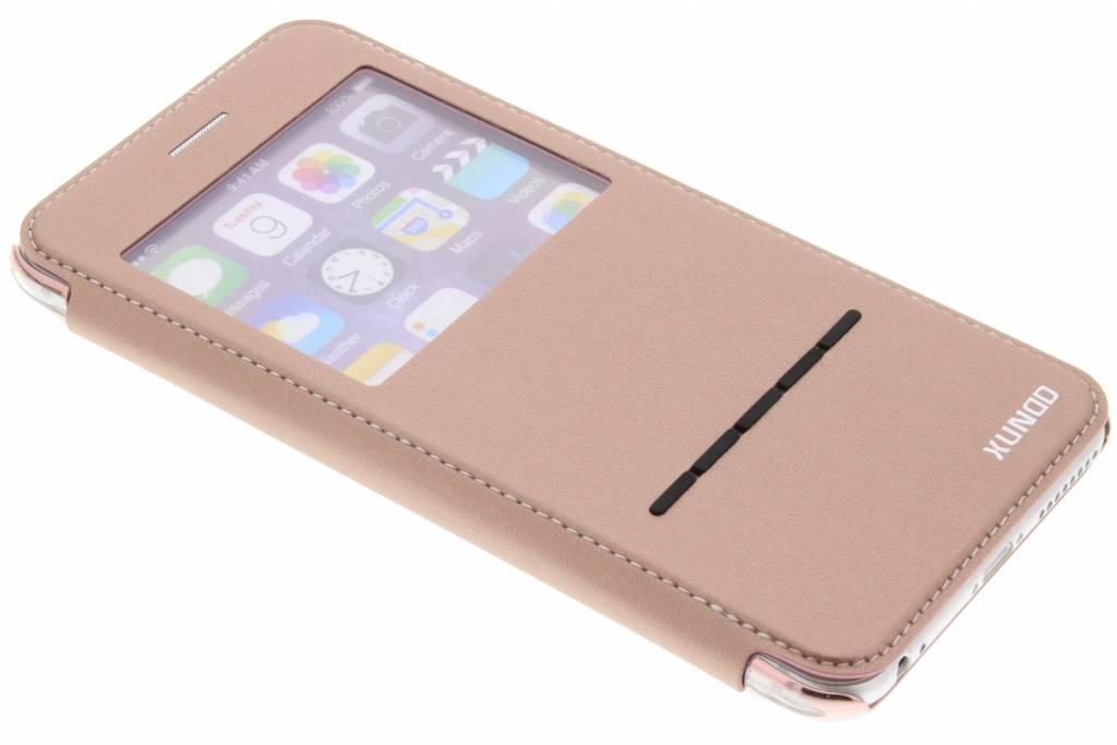 Roze crystal slim book case met venster voor de iPhone 6 / 6s