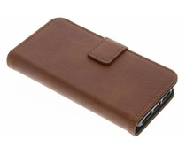 Donkerbruin luxe leder booktype hoes iPhone 5 / 5s / SE