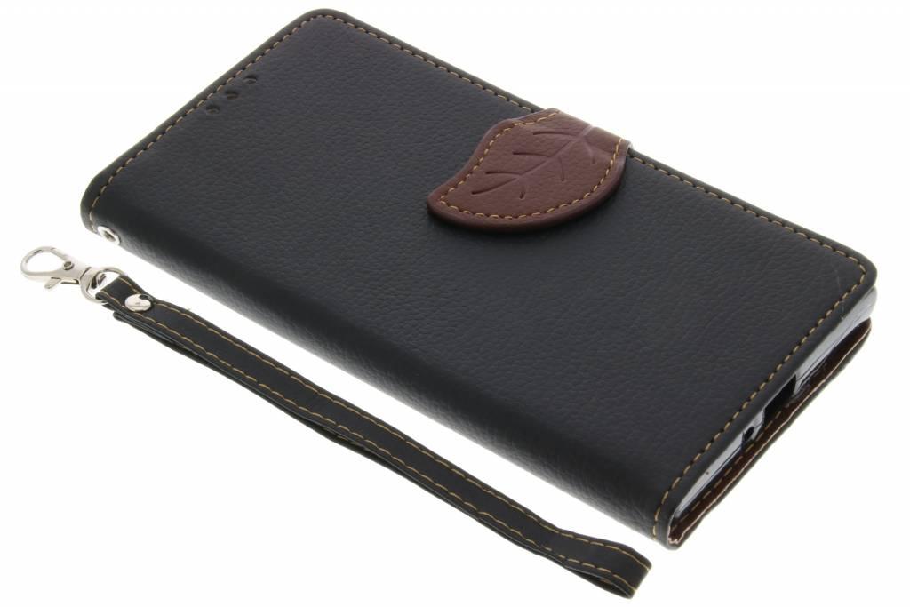 Zwarte blad design TPU booktype hoes voor de Sony Xperia XZ / XZs