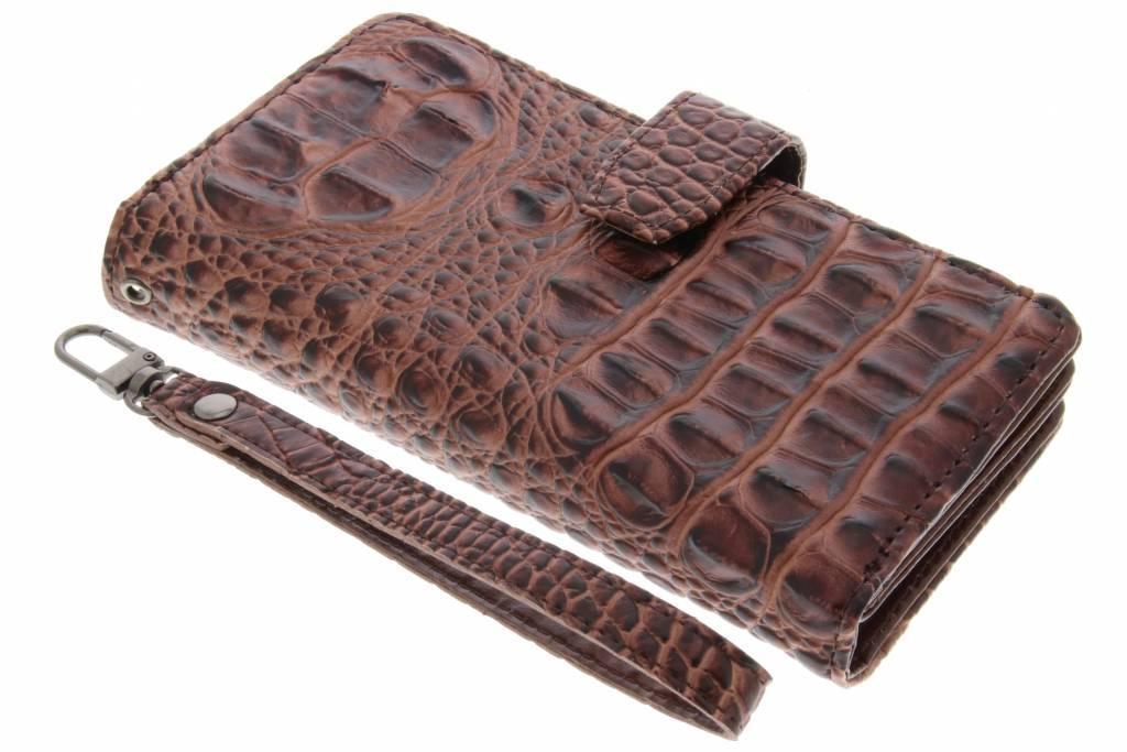Bruine Krokodil Wallet Case voor de Sony Xperia XZ / XZs