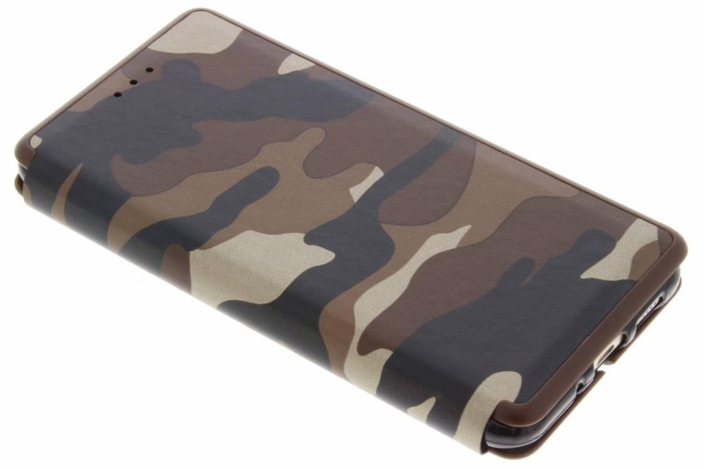 Bruine Army Slim Folio Case voor de Huawei P10 Lite