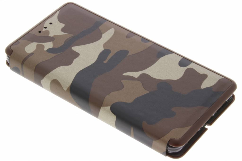 Bruine Army Slim Folio Case voor de Huawei P8 Lite