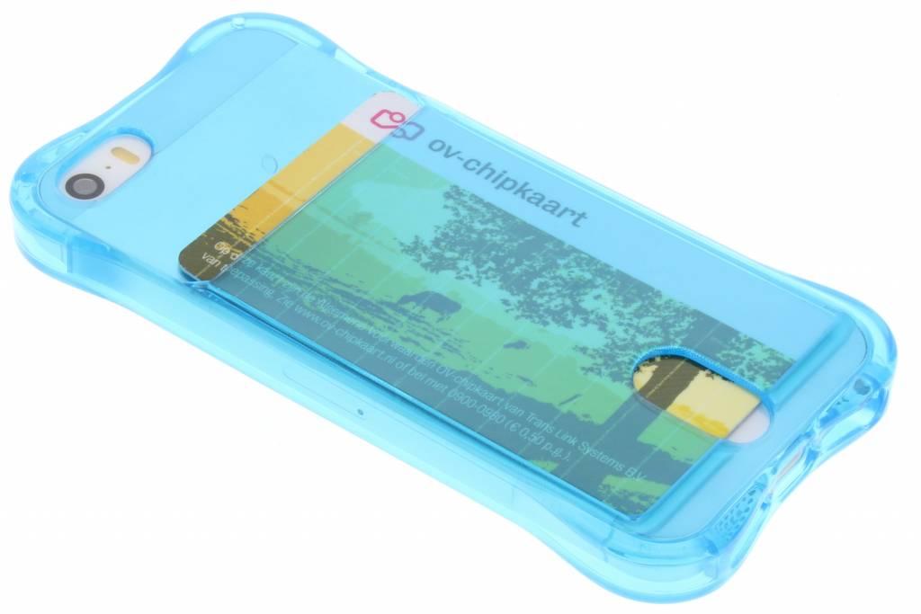 Blauw TPU hoesje met vakje voor de iPhone 5 / 5s / SE