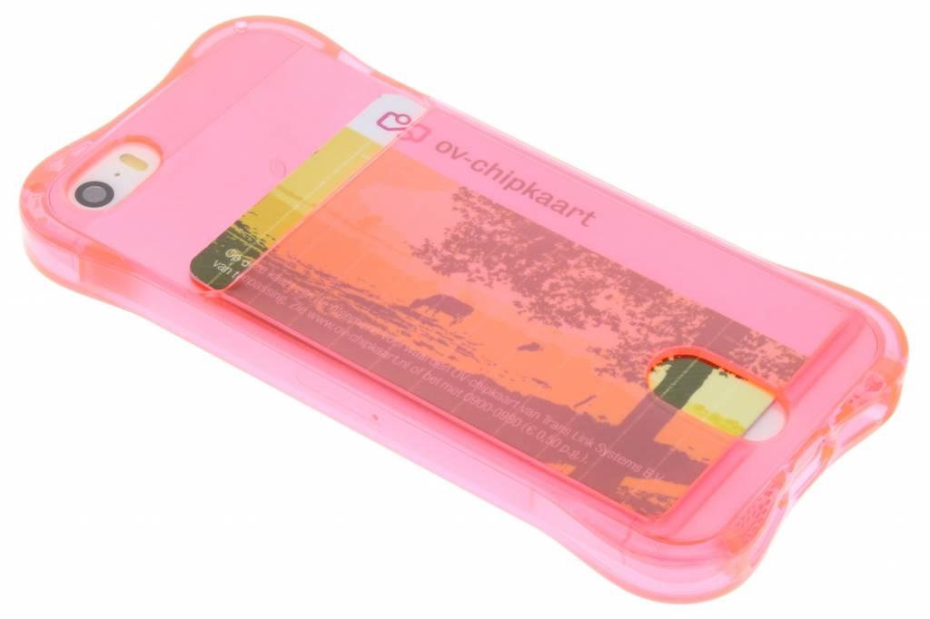 Roze TPU hoesje met vakje voor de iPhone 5 / 5s / SE