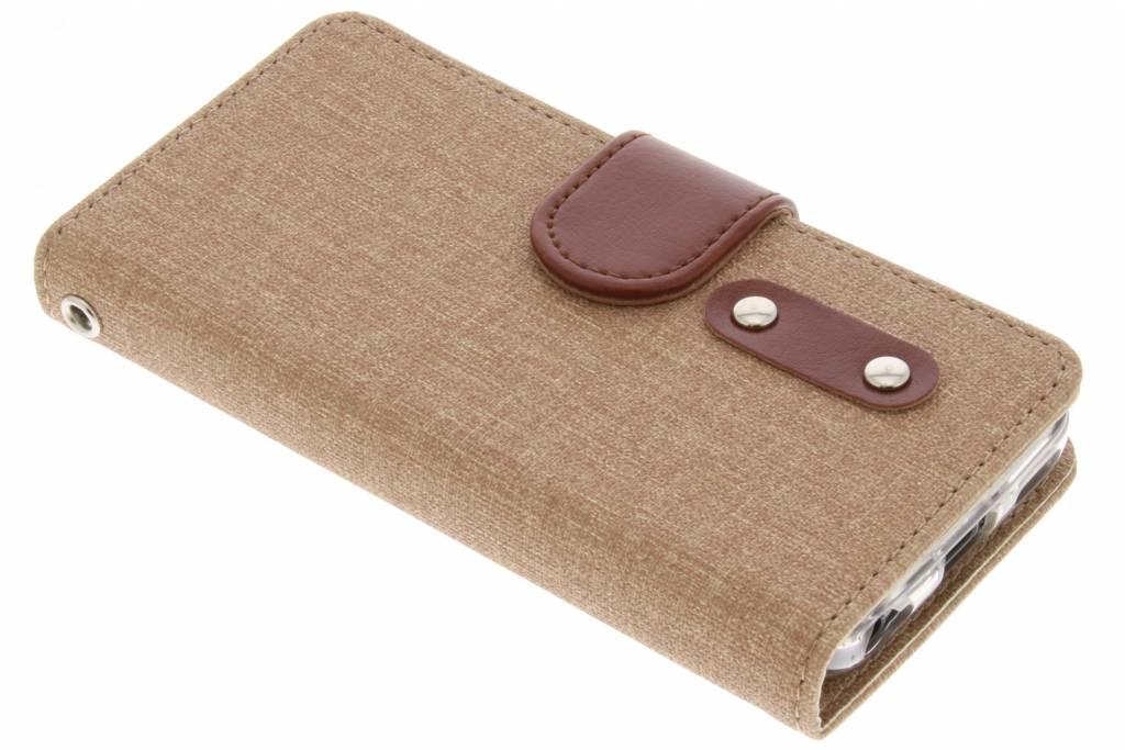 Bruine linnen TPU booktype hoes voor de iPhone 5C