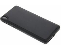 Zwart lederen TPU case Sony Xperia E5