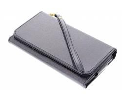 Zwart universeel glitter portemonnee hoesje maat L