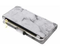 Grijs Marmer design luxe portemonnee hoes iPhone 8 / 7