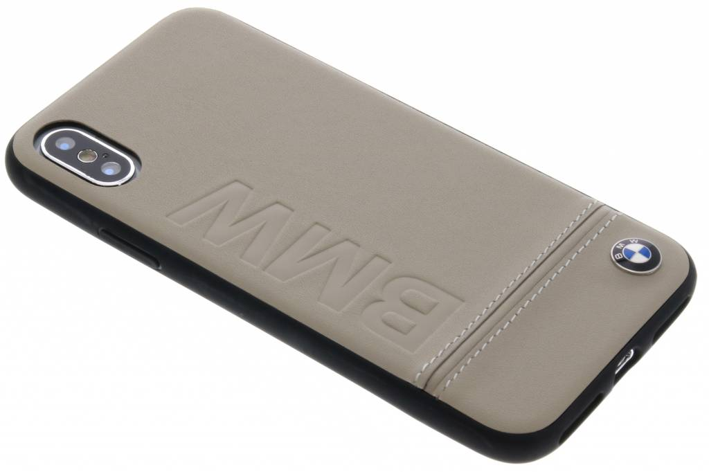 BMW Taupe Logo Leather Hard Case voor de iPhone Xs / X