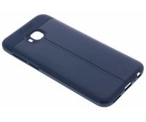 Donkerblauw Lederen siliconen case Asus ZenFone 4 Selfie Pro