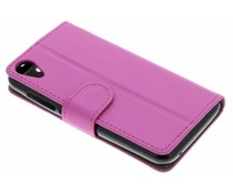 Roze luxe booktype hoes Wiko Sunny 2