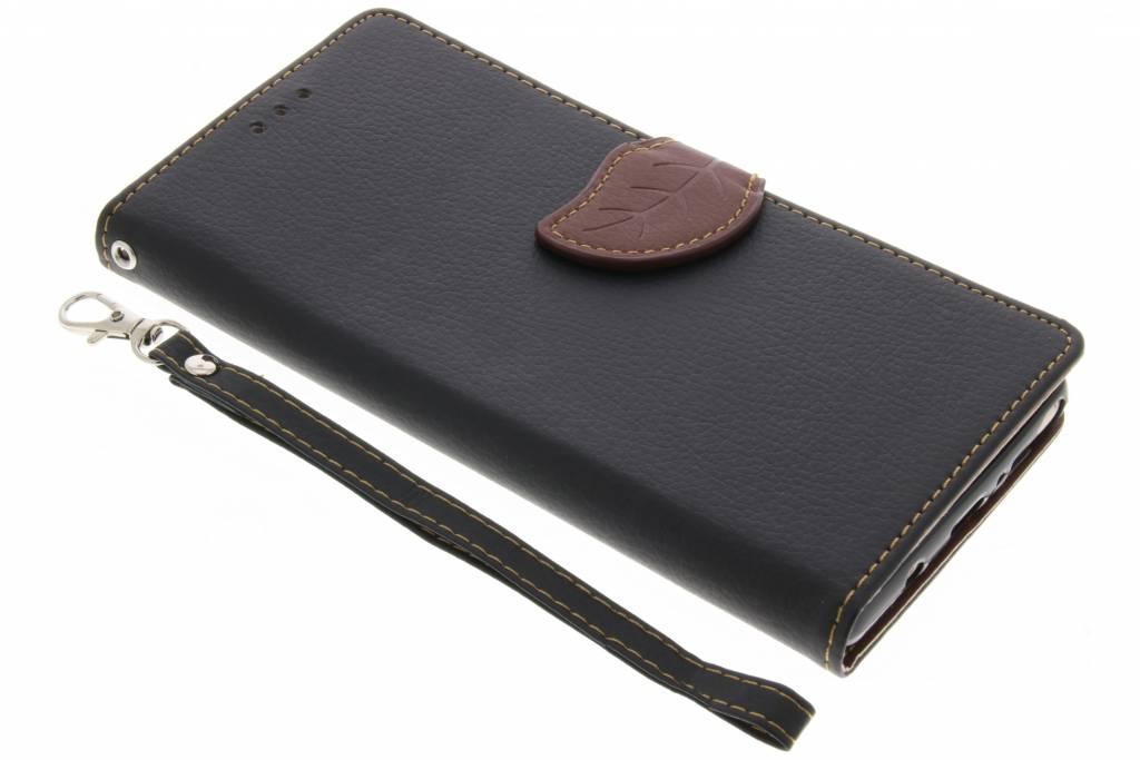 Zwarte blad design TPU booktype voor de Samsung Galaxy Note 8