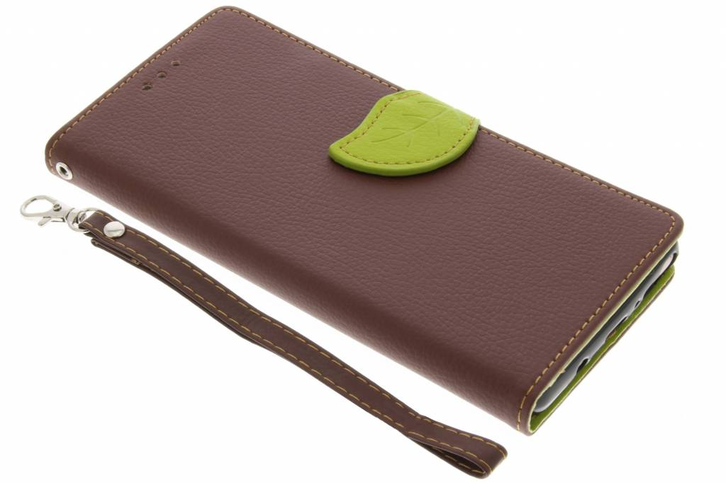 Bruine blad design TPU booktype voor de Samsung Galaxy Note 8