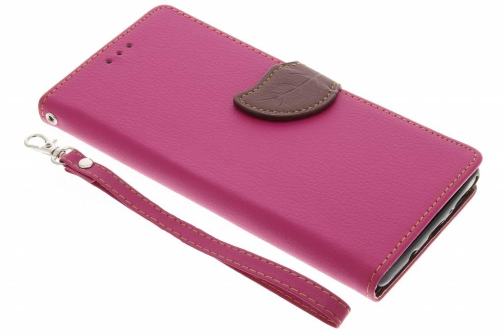 Fuchsia blad design TPU booktype voor de Samsung Galaxy Note 8