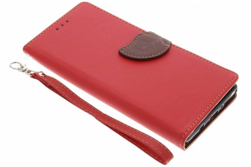 Rode blad design TPU booktype voor de Samsung Galaxy Note 8