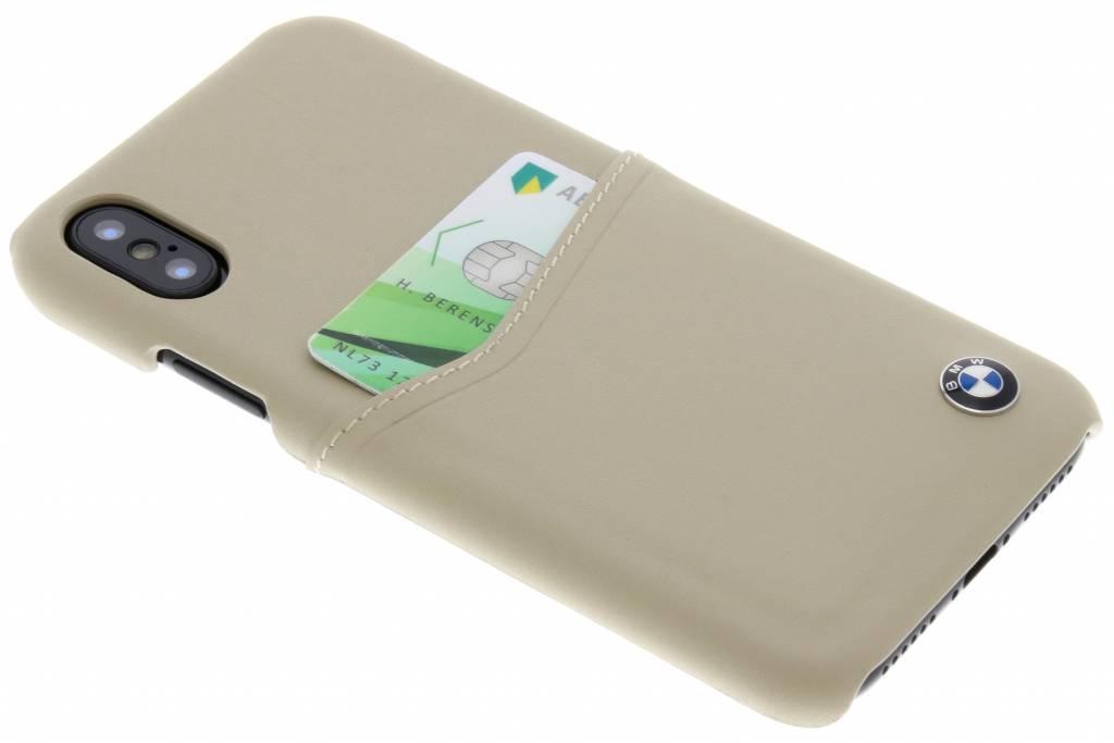 BMW Beige Leather Card Case voor de iPhone X