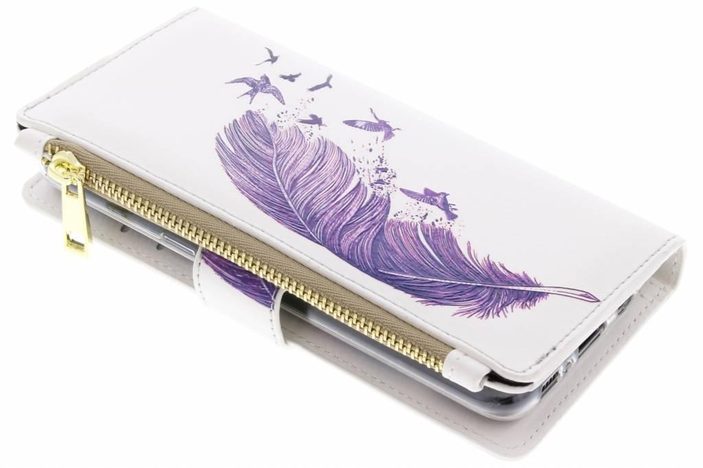 Paarse veer design luxe portemonnee hoes voor de Samsung Galaxy S8