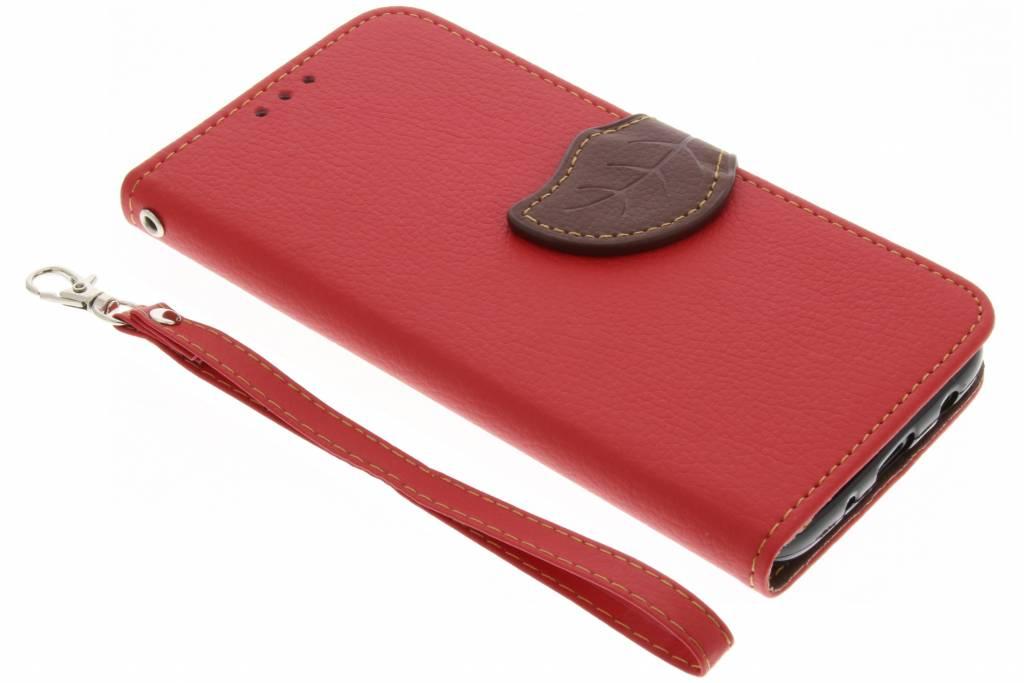 Rode blad design TPU booktype voor de Samsung Galaxy J5 (2017)