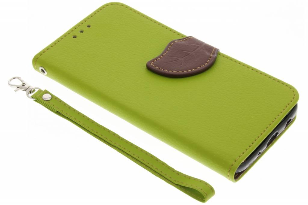 Groene blad design TPU booktype voor de Samsung Galaxy J5 (2017)