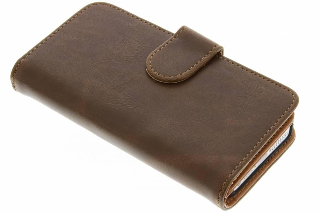 Bruine 11-vaks wallet case voor de iPhone 5 / 5s / SE
