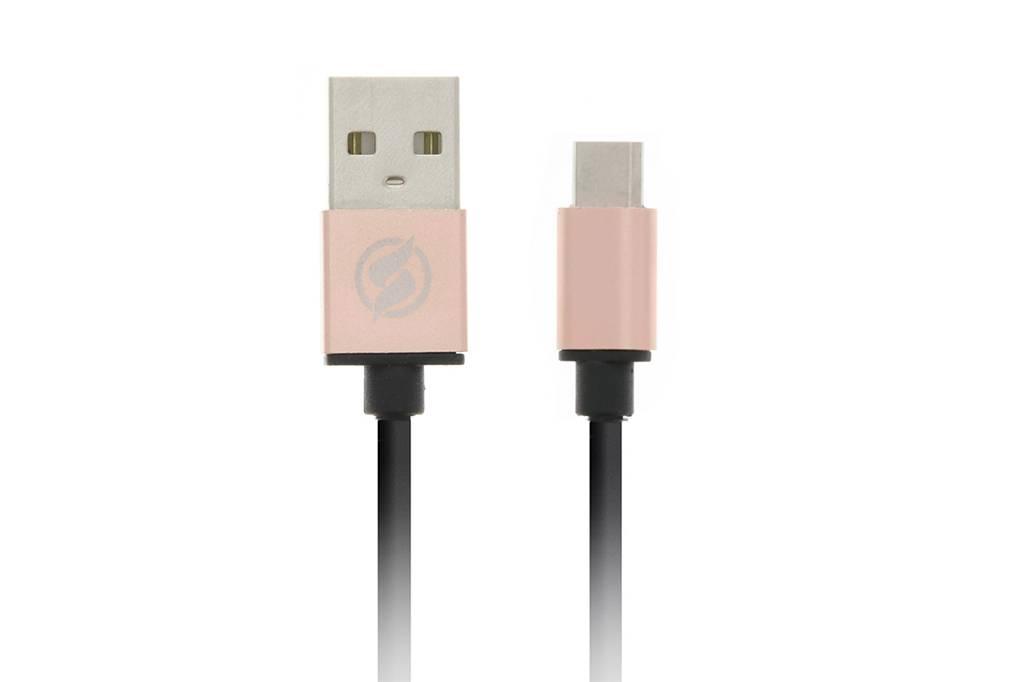 Micro-USB naar USB-kabel 1 meter - Zwart / Rosé goud