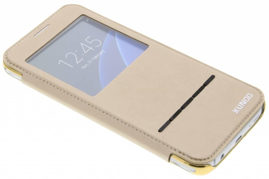 Gouden crystal slim book case met venster voor de Samsung Galaxy S7
