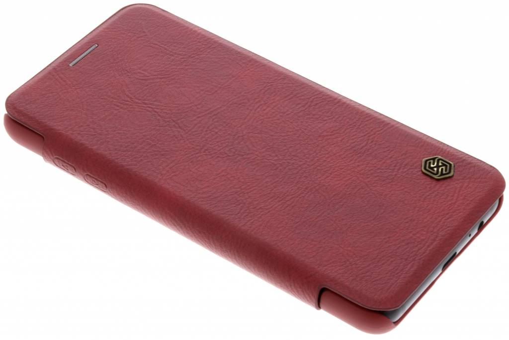 Rode Qin Leather slim booktype hoes voor de Samsung Galaxy A8 (2018)