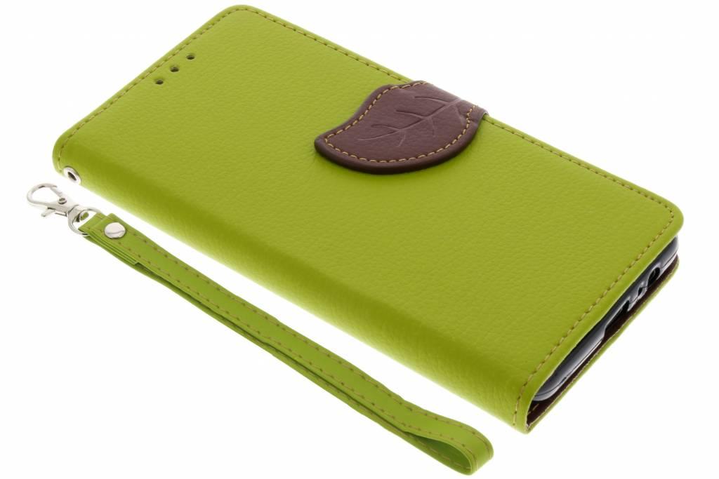 Groene blad design booktype hoes voor de Samsung Galaxy A8 (2018)