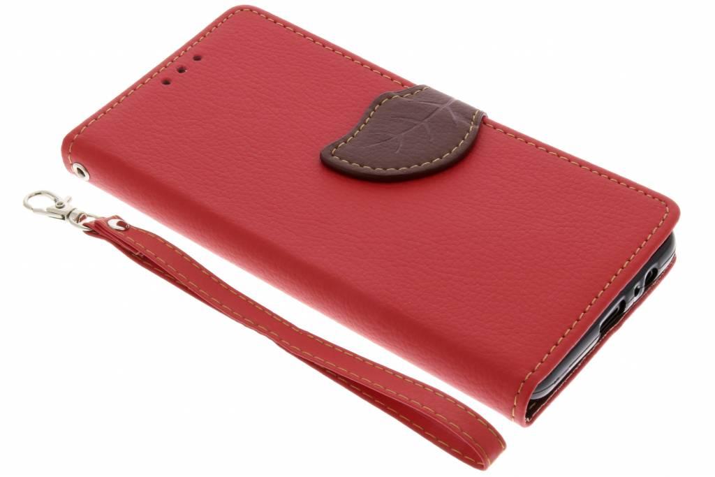 Rode blad design booktype hoes voor de Samsung Galaxy A8 (2018)