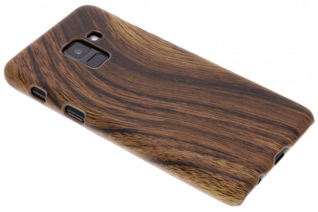 Donkerbruin hout design hardcase hoesje voor de Samsung Galaxy A8 (2018)
