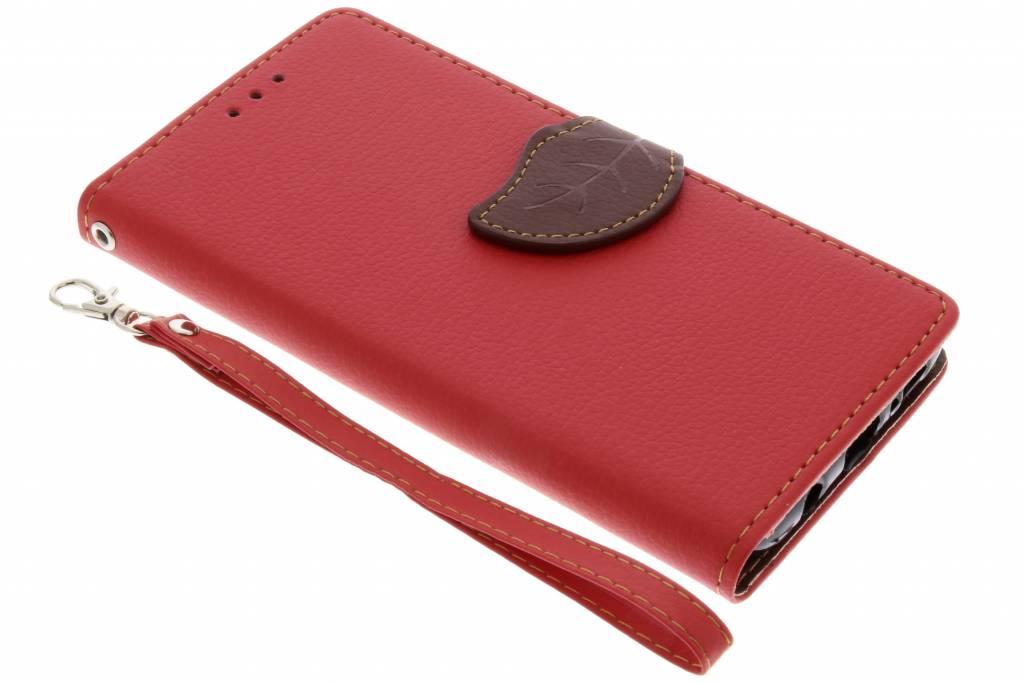 Rode blad design booktype hoes voor de Samsung Galaxy S9