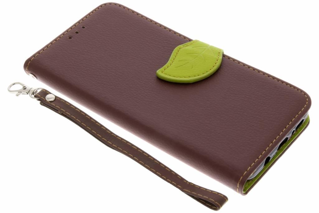 Bruine blad design TPU booktype hoes voor de Samsung Galaxy S9 Plus