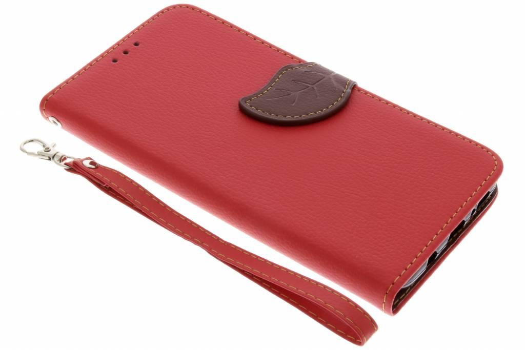 Rode blad design TPU booktype hoes voor de Samsung Galaxy S9 Plus