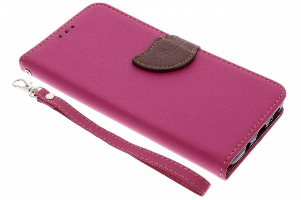 Fuchsia blad design booktype hoes voor de Samsung Galaxy S9 Plus